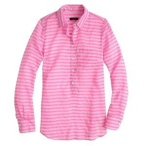 J. Crew Pink Stripe Cotton-silk Popover